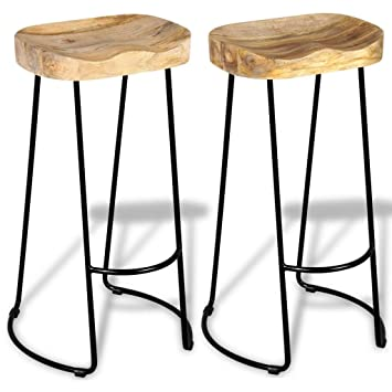 Astounding Amazon Com Festnight Vintage Gavin Bar Stools Solid Mango Caraccident5 Cool Chair Designs And Ideas Caraccident5Info