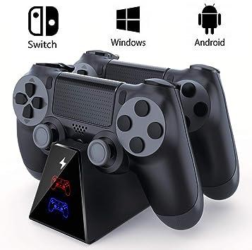 Cargador Mando PS4, EXTSUD Estacion de Carga PS4 Cargador Dual ...