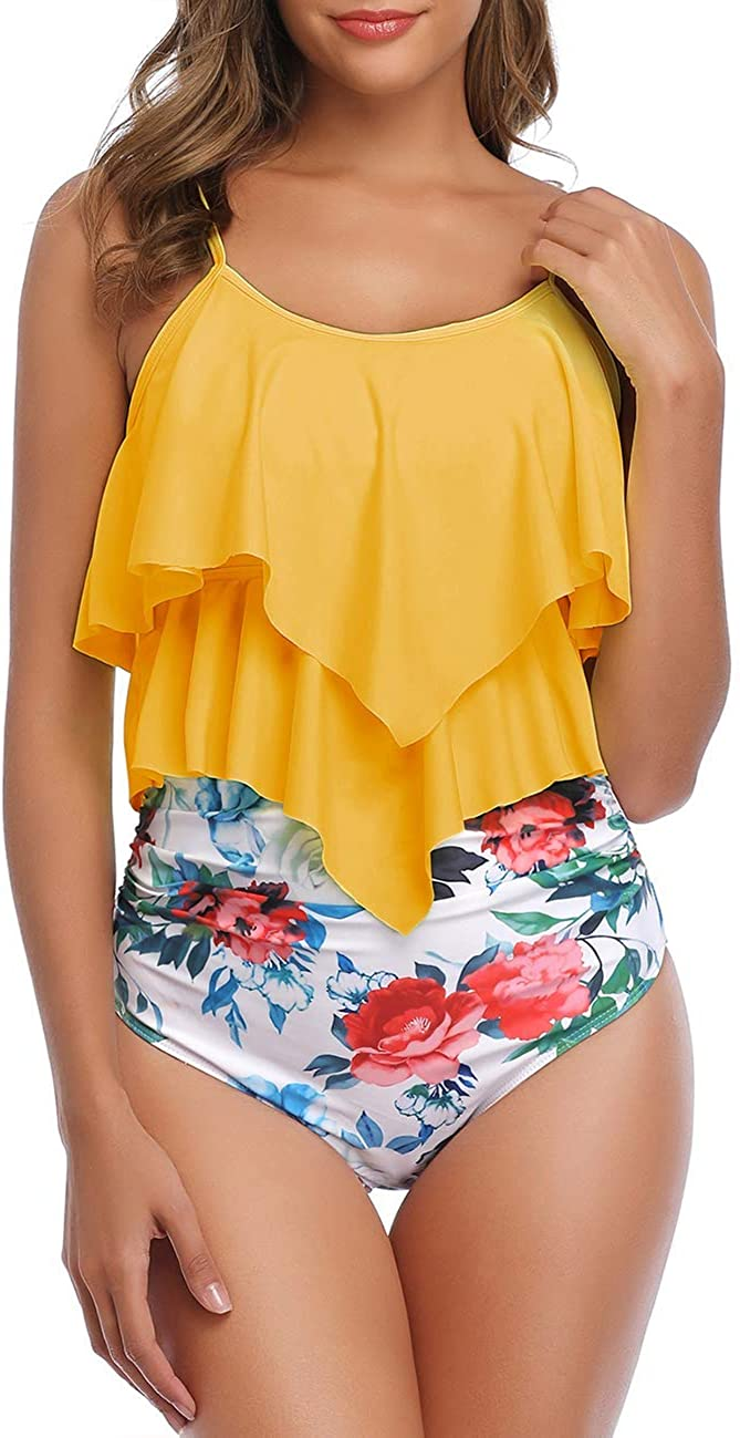 coastal rose Womens Two Piece Swimsuits Tiered Flounce Top High Waist Bikini Bathing Suits