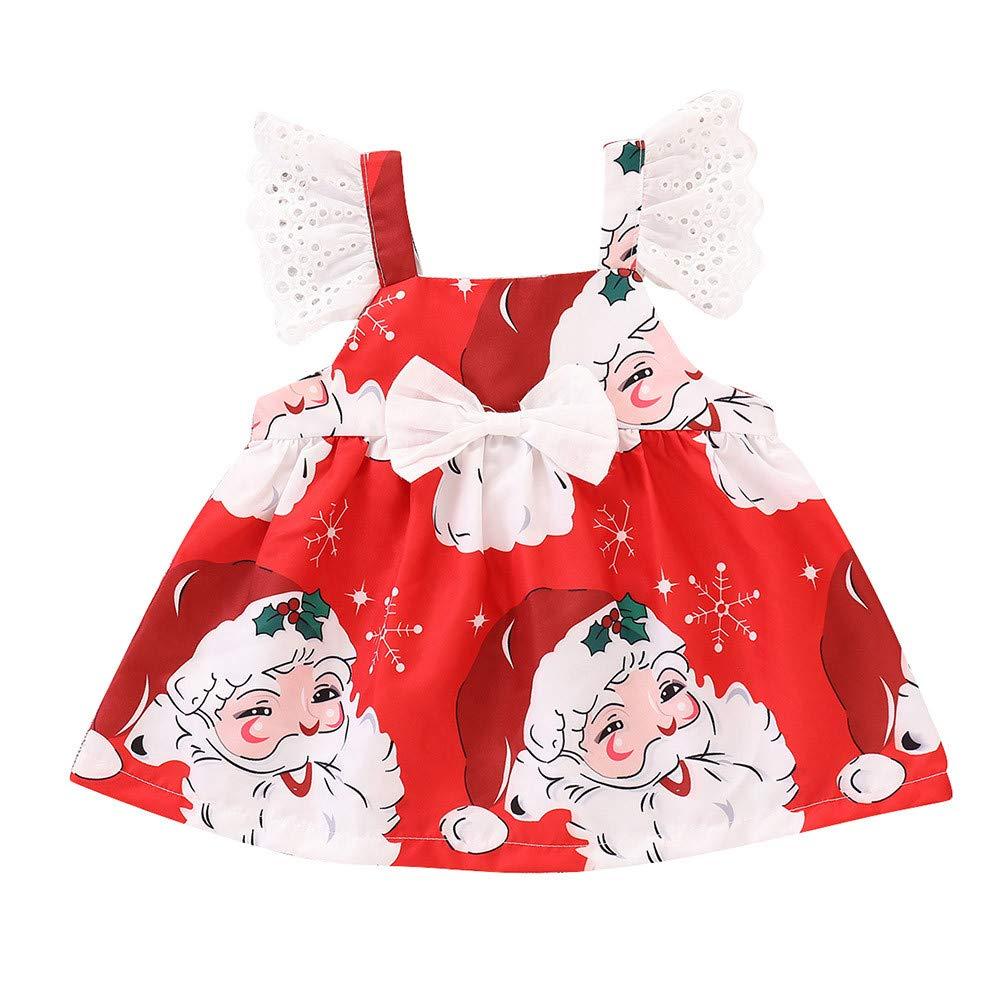 Toddler Kids Baby Girls Dress, Infant Girls Cartoon Print Dress Christmas Dresses Clothes