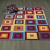 Ottomanson Rainbow Collection Non-Slip Kids Rug Modern Boxes Pattern Design Area Rug, 5'0'' x6'6, Multicolor
