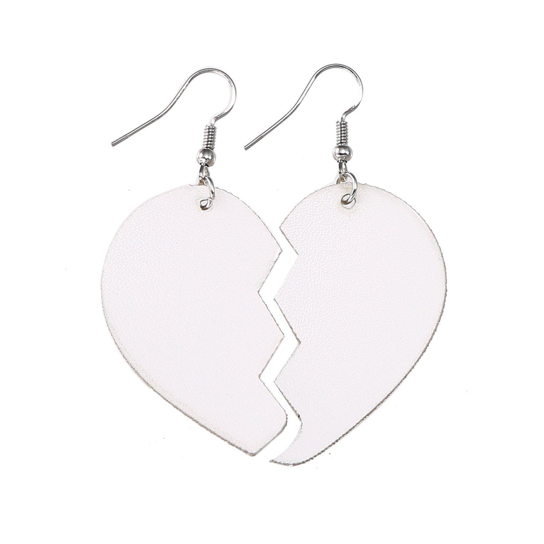 TIDOO Jewelry Girls Broken Heart Leather Earrings for Women Love Heart Drop Earring