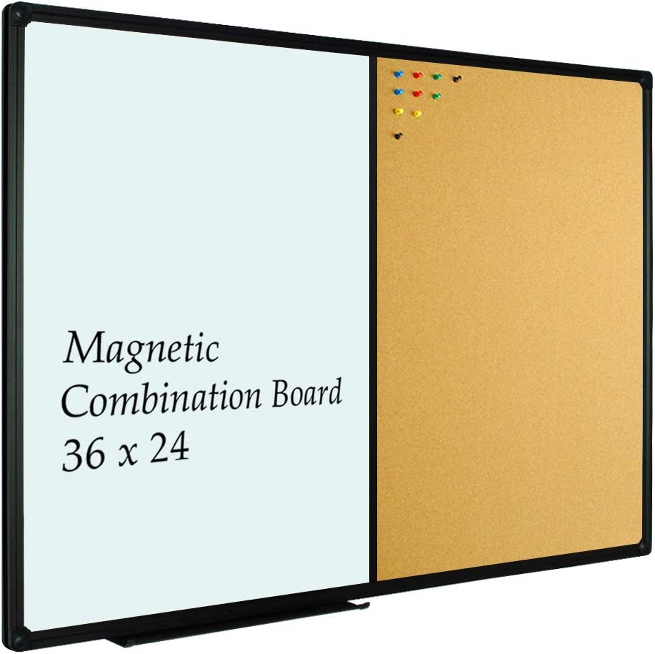 JILoffice White Board & Bulletin Corkboard Combination, Combo Board 36 x 24 Magnetic Whiteboard, Black Aluminum Frame Wall Mounted Board for Office Home and School with 10 Push Pins