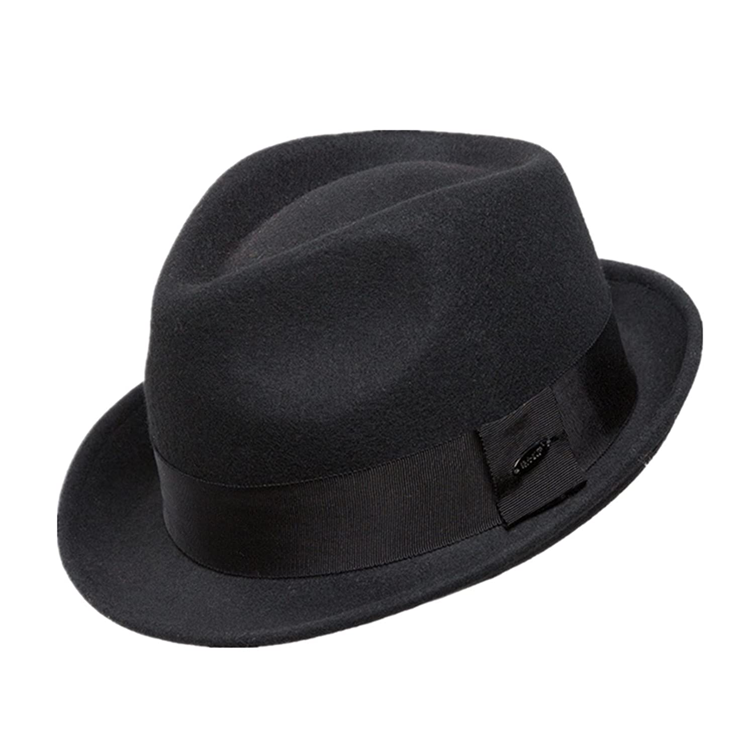 6d2015a2b89 Men s Wool Felt Winter Hat Short Brim Fedora Hat