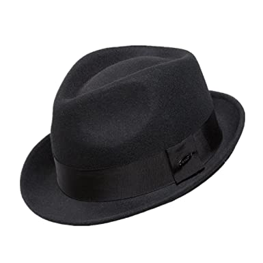 d1cbecade221f Home Prefer Men s Wool Felt Winter Hat Short Brim Fedora Hat Black Medium