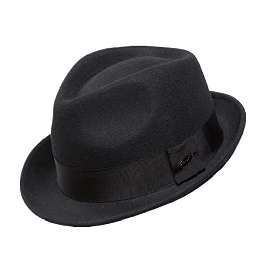 48c06ad0b0a Home Prefer Men s Wool Felt Winter Hat Short Brim Fedora Hat Black Medium