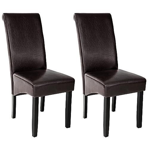 TecTake Lot de 2 chaises de salle à manger 106 cm chaise de salon mobilier meuble de salon - diverses couleurs au choix - (Marron | No. 401294)