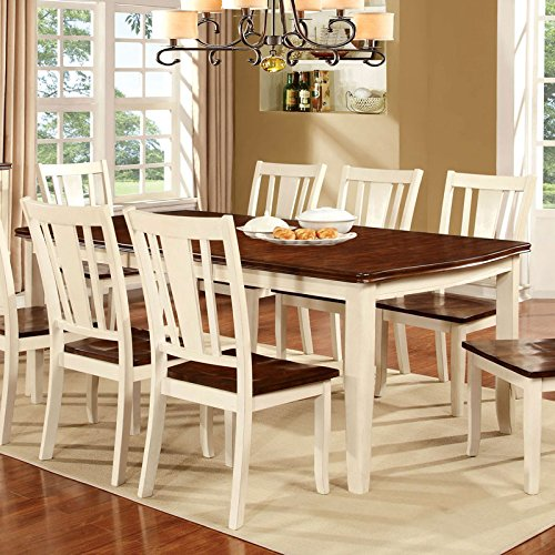 Dover Transitional Style Cherry & White Finish 7-Piece Dining Table Set