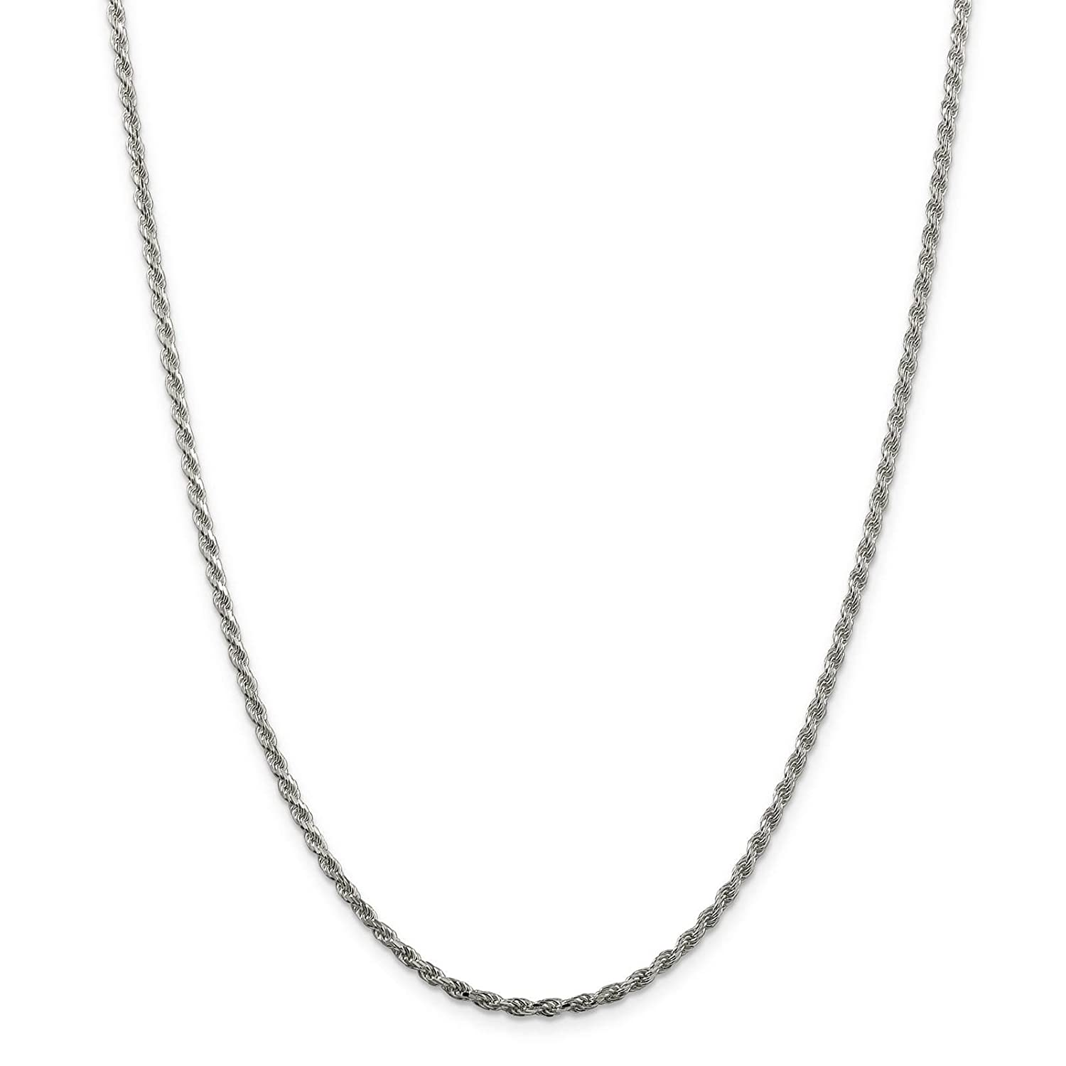 925 Sterling Silver Rhodium-finish 2.2mm Diamond-cut Rope Chain Necklace 18-24