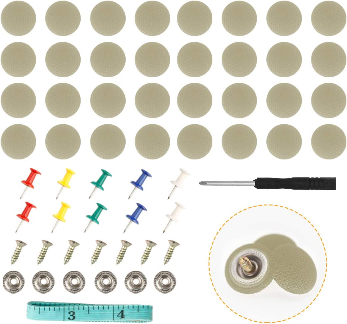 HighFree Car Roof Repair Rivets Headliner Repair Button 60 pcs Auto Roof Snap Rivets Retainer for Interior Ceiling Cloth Fixing Repair Buckle with Installation Tool Grey Beige Grid