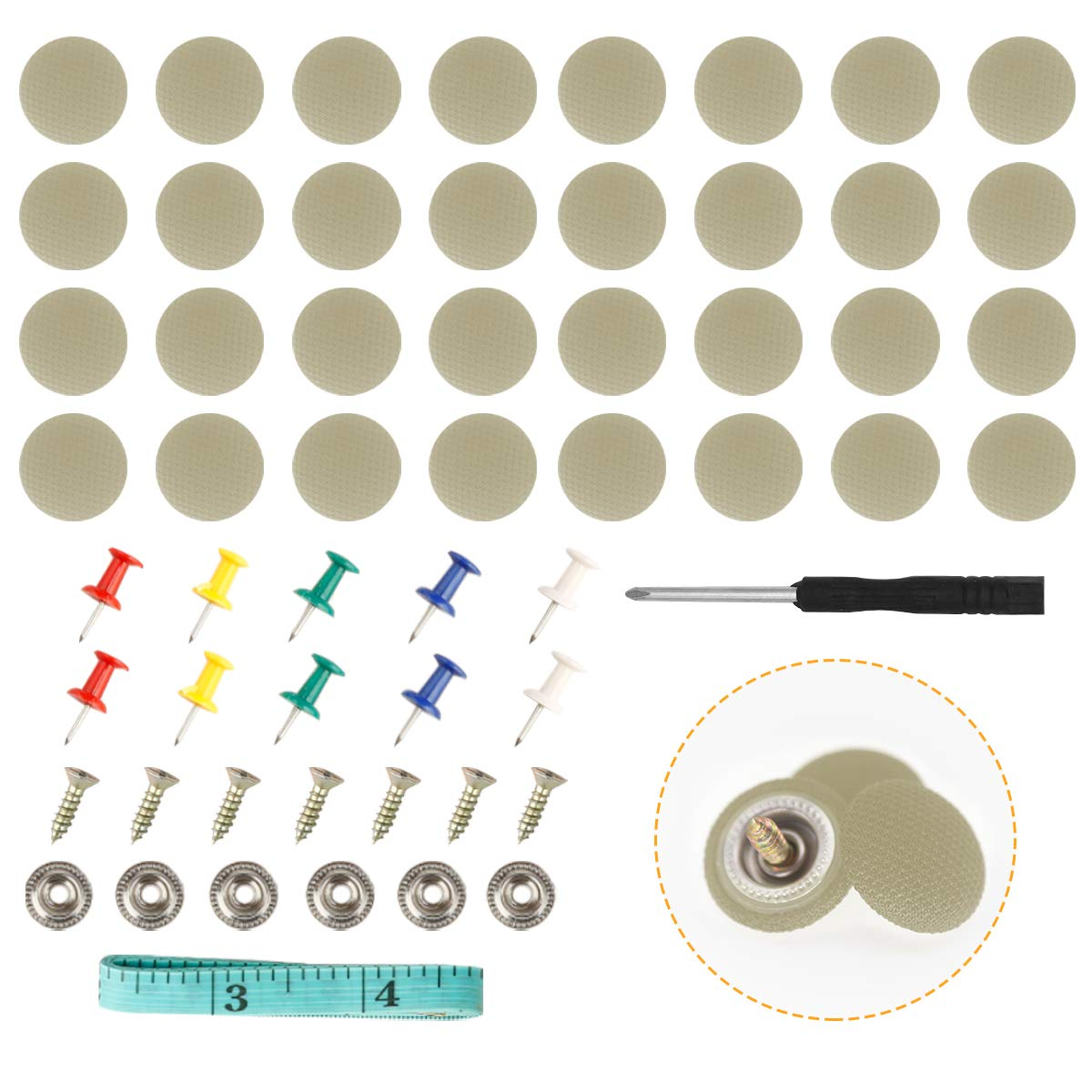 KUFUNG 60PCS Car Roof Headliner Repair Kit, Auto Roof Snap Pins Retainer Design for Car Roof Flannelette Fixed, with Installation Tool and Fit Truck, SUV, UV, Car (Grey Beige Grid)