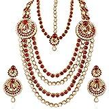 I Jewels Indian Wedding Bridal Set with Damini for Women IJ219M (Maroon)