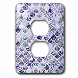 3dRose Uta Naumann Faux Glitter Pattern - Image of Purple Silver Shiny Luxury Elegant Mermaid Scales Glitter - Light Switch Covers - 2 plug outlet cover (lsp_275450_6)