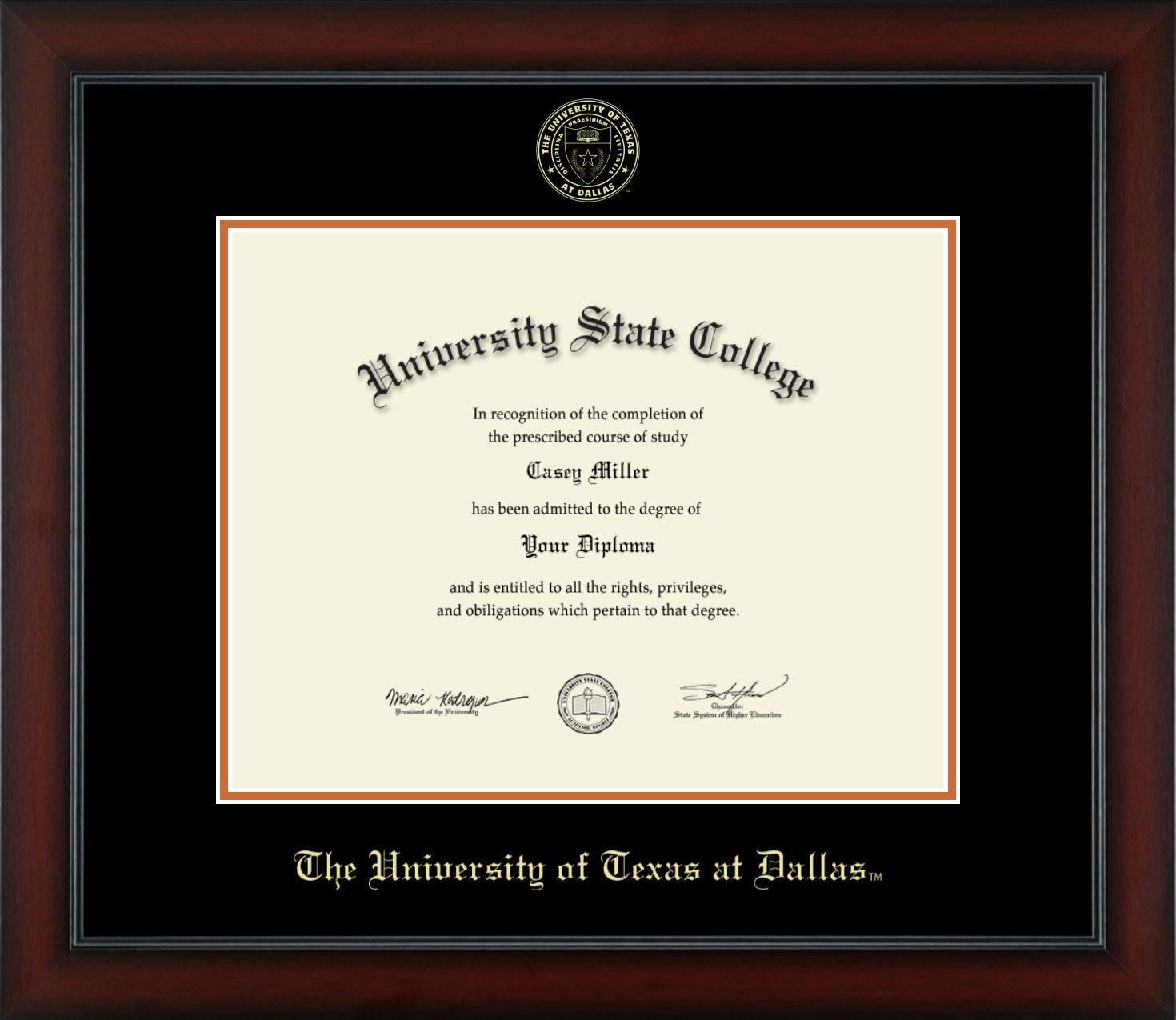 The University of Texas at Dallas - Officially Licensed - Gold Embossed Diploma Frame - Diploma Size 14'' x 11''