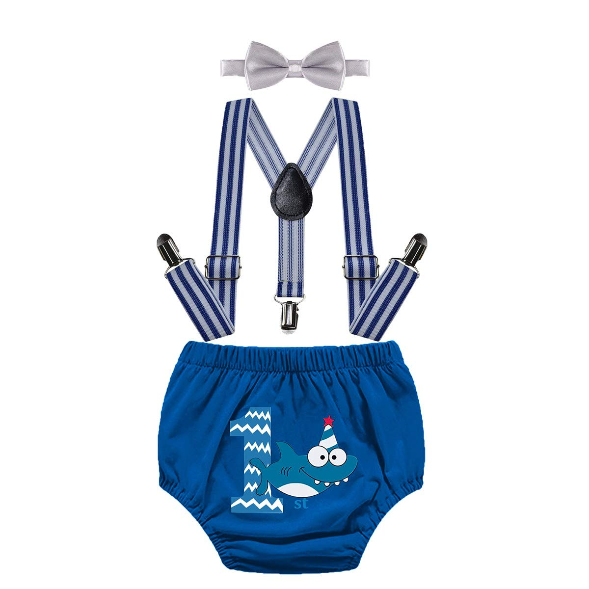 IZKIZF Baby Boy 1st Birthday Shark Cake Smash Outfits Diaper Suspenders Bow Tie
