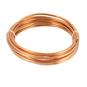 "uxcell Refrigeration Tubing, 1/8"" OD x 5/64"" ID x 9.8 Ft Soft Coil Copper Tubing"