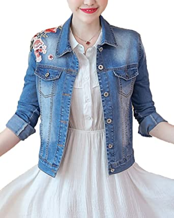 Veste en Jeans Court Floral Brodé pour Femme