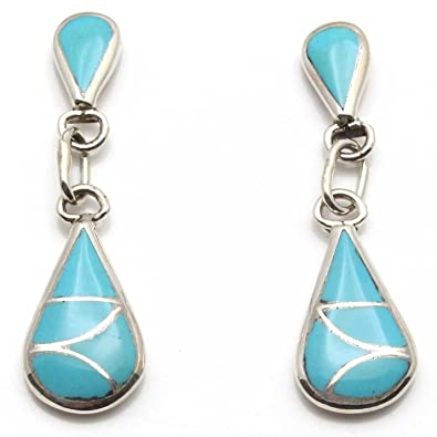 76ebfe062 Image Unavailable. Image not available for. Color: Zuni Sterling Silver &  Turquoise Dangle Earrings ...