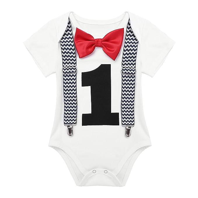 iiniim Pelele Cumpleaños 1 Año Niño Niña Mameluco Unisex Mono Mangas Cortas Pajarita Ropa algodón para Bebé Recien Nacido Traje de Fiesta Boda Conjunto ...