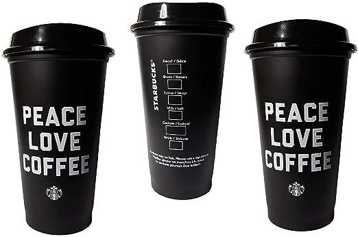 Starbucks Peace Love Coffee Negro Reutilizable Grande 16 oz taza ...