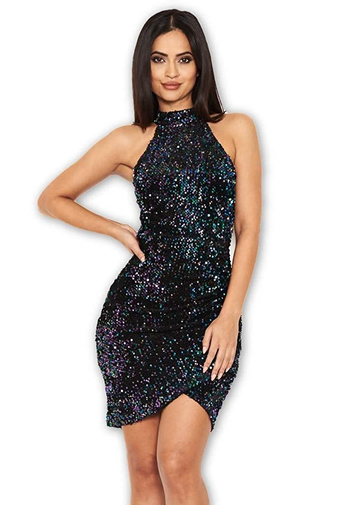 8a785643588 AX Paris Women s Sequin High Neck Bodycon Dress at Amazon Women s Clothing  store