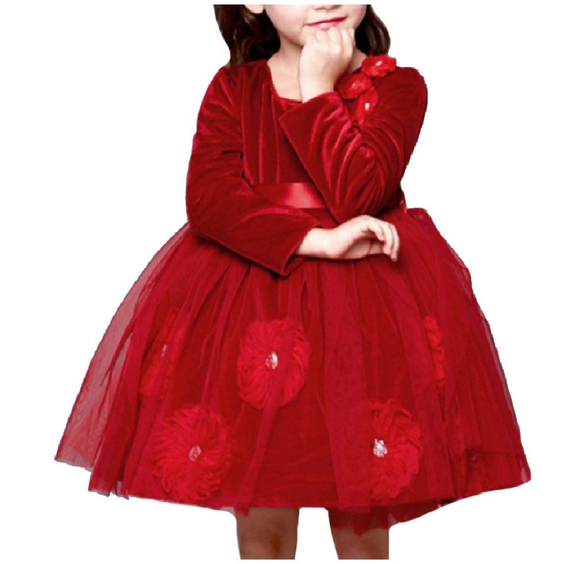 Vska Big Little Girl Embroidery Pure Color Fine Cotton Party Dress Red 130