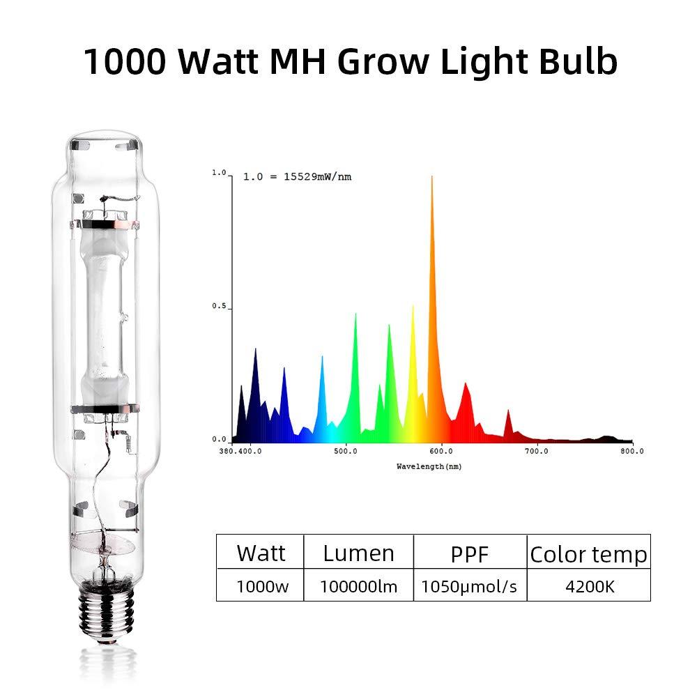 TOPHORT 1000 Watt MH Grow Light Bulb Metal Halide Grow Light Enhanced Blue and Violet Spectrums CCT 4200K, 10,000 Lumens