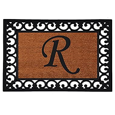 Home & More 180041925R Inserted Doormat, 19  X 25  x 0.60 , Monogrammed Letter R, Natural/Black