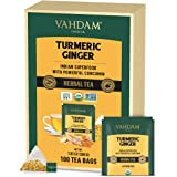 VAHDAM, ORGANIC Turmeric + Ginger Herbal Tea (100 Tea Bags   Powerful Superfood   Wellness & Healing Properties of Turmeric &