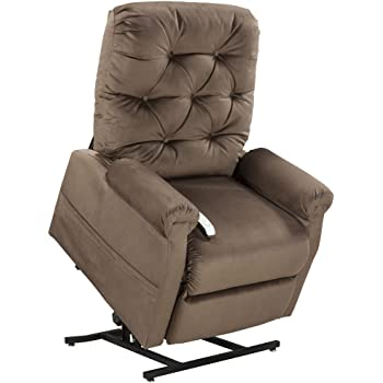 Good Mega Motion Lift Chair Easy Comfort Recliner LC 200 3 Position Rising  Electric Power Chaise Lounger   Chocolate Brown Color Fabric