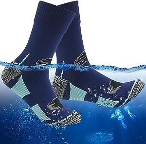 RANDY SUN 100% Waterproof Socks, Unisex Hiking Wading Trail Running Skiing Crew Socks
