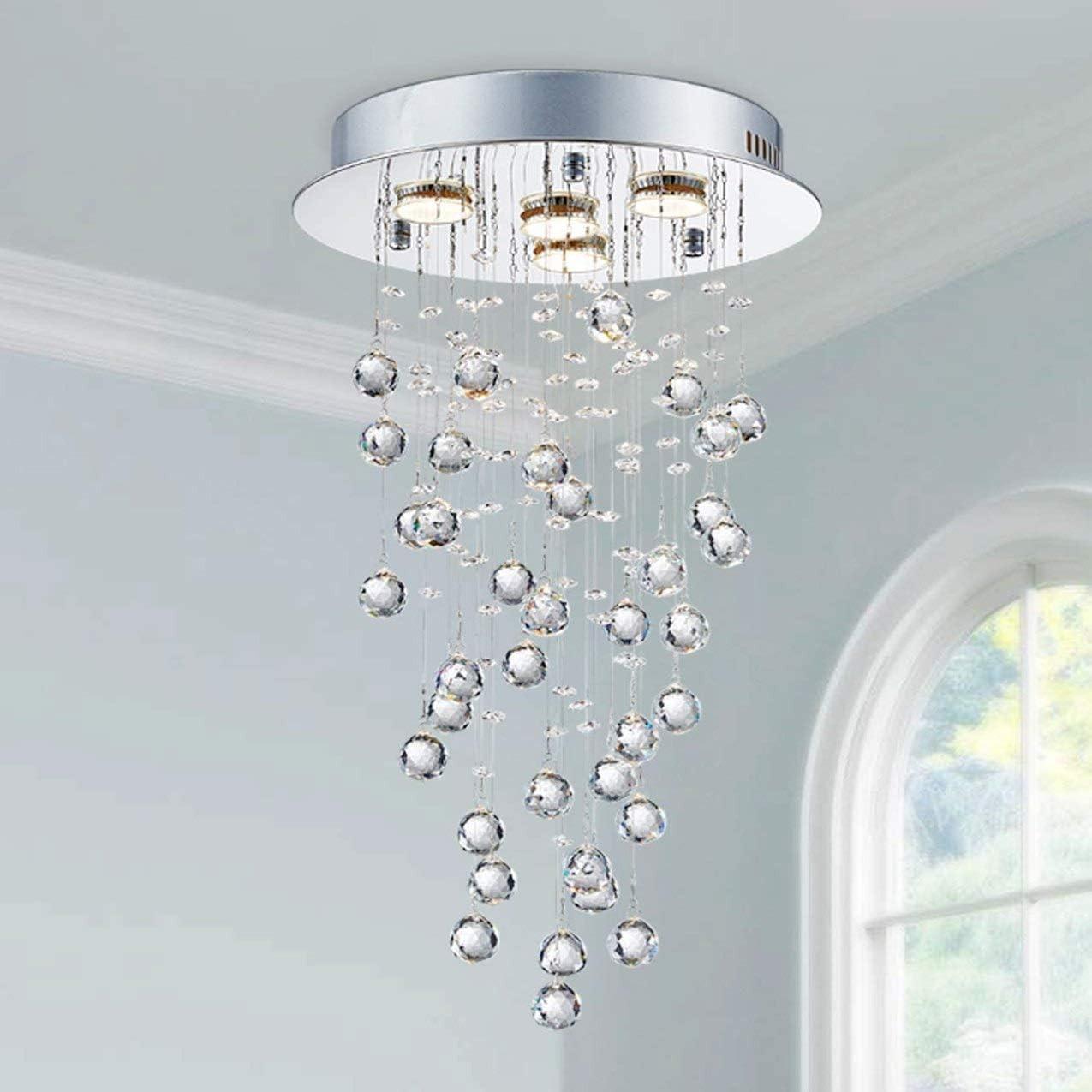Saint Mossi Modern Crystal Chandelier Lighting,Rain Drop K9 Crystal Glass Chandelier, 4-Light Flush Mount Ceiling Chandelier