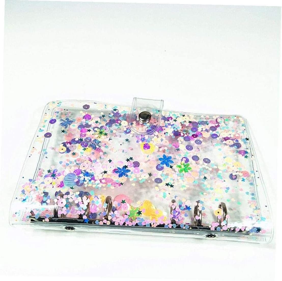 Glitter Sequins Notebook Cover Practical A5//a6 Clear File Folder 6 Rings Loose Leaf Ring Binder School Office Supplies
