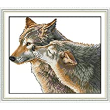 YEESAM ART New Cross Stitch Kits Advanced Patterns for Beginners Kids Adults - Kiss Of Wolf 11 CT Stamped 52×44 cm - DIY Needlework Wedding Christmas Gifts