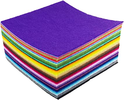 10 x10cm Assorted Color Felt Fabric Sheets Patchwork Sewing DIY Craft 1mm Thick flic-flac 44PCS 4 x 4 inches