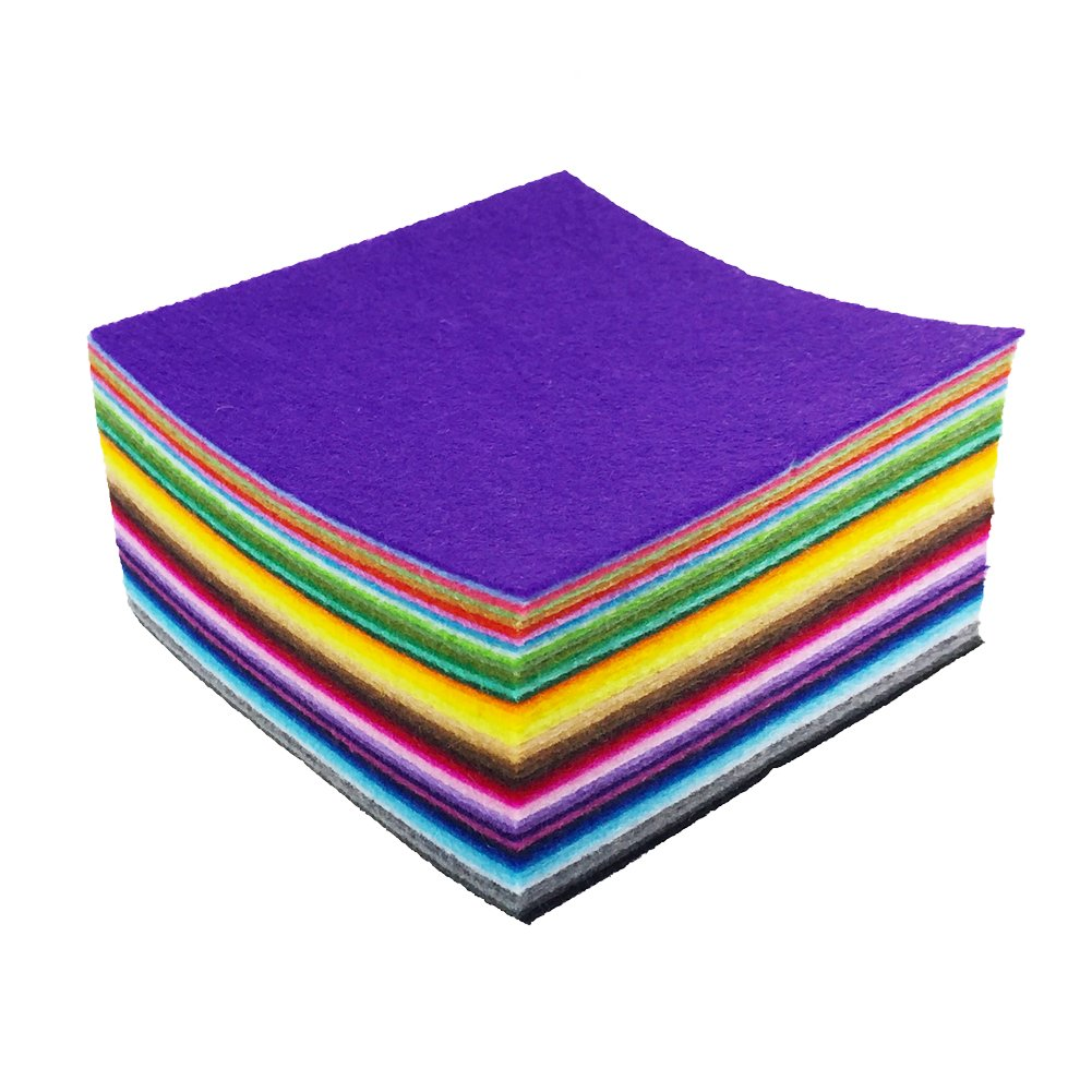 Assorted Color Felt Fabric Sheets Patchwork Sewing DIY Craft 1mm Thick /… 15cm 15cm, 44pcs flic-flac 44PCS 6 x 6 inches 15 x 15cm
