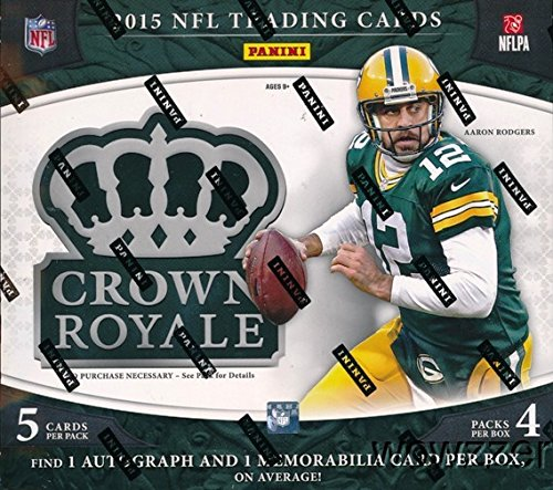 (2015 Panini Crown Royale NFL Football EXCLUSIVE Factory Sealed Retail Box with TWO(2) AUTOGRAPH/MEMORABILIA Cards! Look for RC's & Autographs of Jameis Winston, Marcus Mariota & Many)