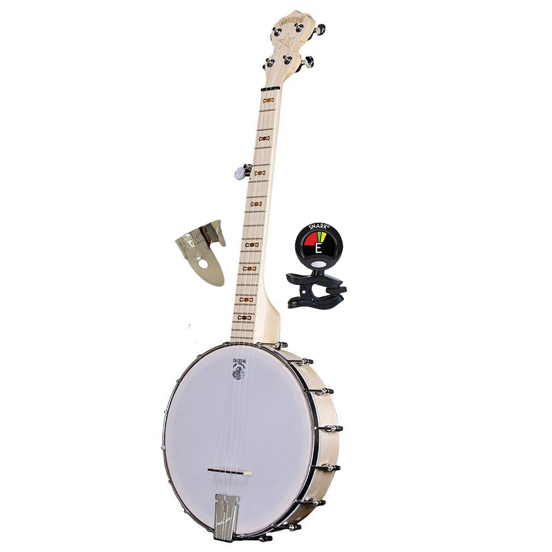 Deering Goodtime Parlor Small 5 Strings Banjo with Blonde Slender Rock Maple Neck - Banjo Kit with Finger & Thumb Picks Banjo and Banjo Tuner
