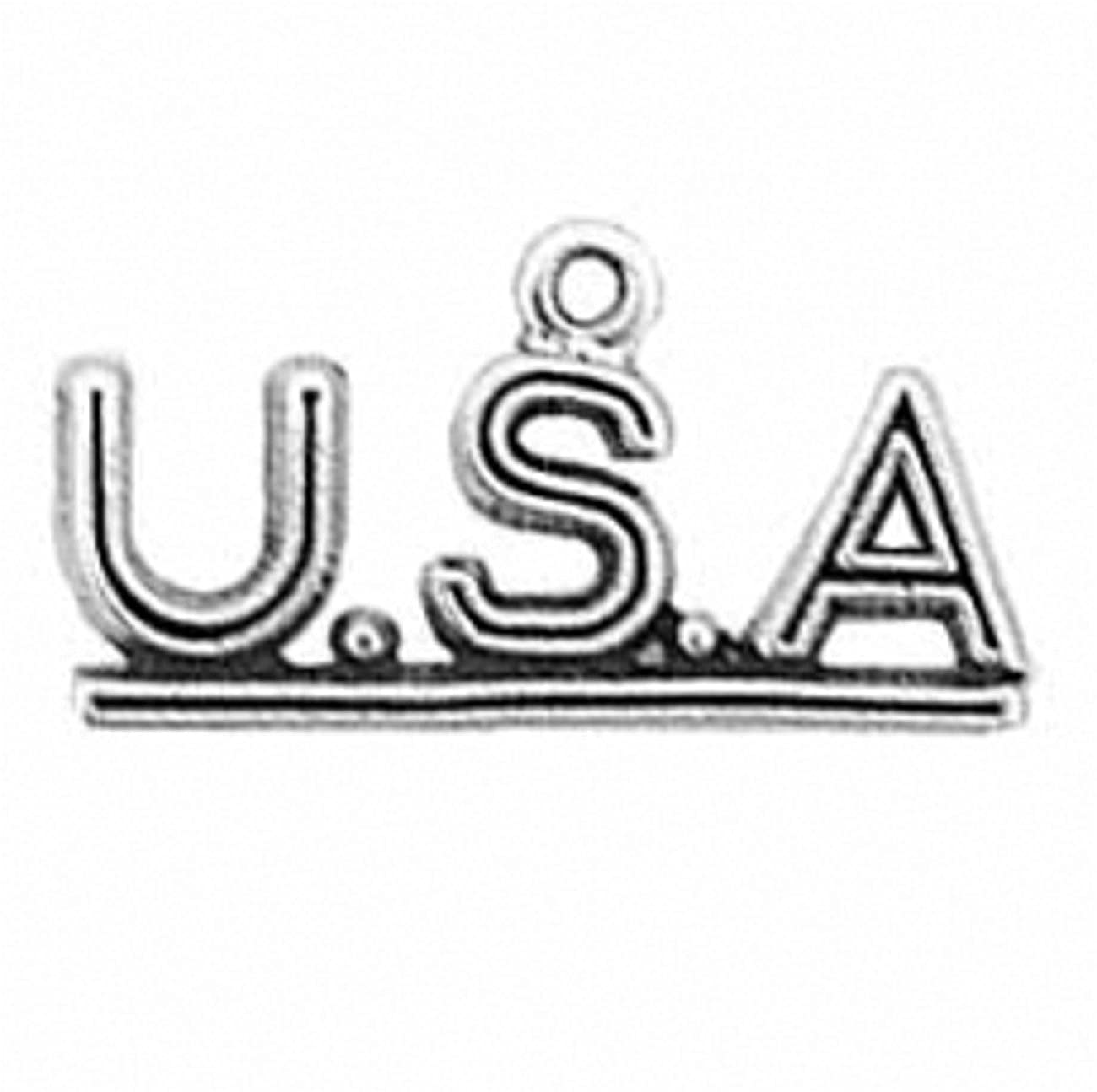 Sterling Silver 7 4.5mm Charm Bracelet With Attached Abbreviated United States Of America USA Charm