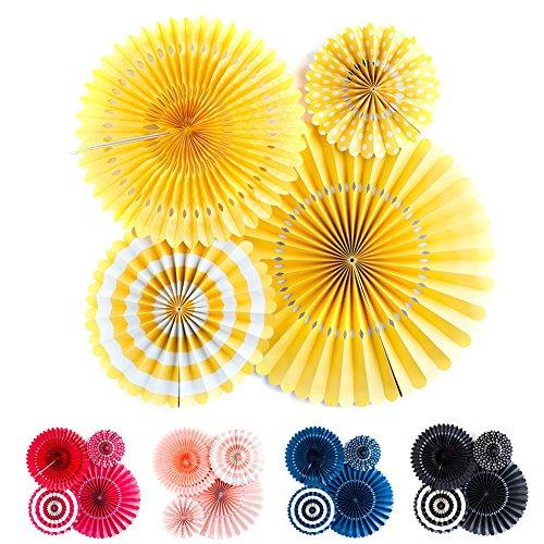 yellow paper fan decor - 3