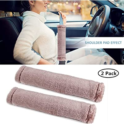 Moonet Auto Seat Belt Shoulder Pad, Soft Faux Sheepskin Wool Universal Seatbelt Cover for More Comfortable Driving,Multipurpose for Handbag Carmera Backpack Straps,2pc(Khaki): Automotive
