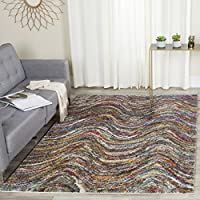Safavieh Fiesta Shag Collection FSG386M Abstract Waves Multicolored Area Rug (5' 1 ' x 7' 6 ')