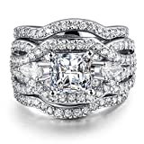 UOKOHO 3 PCS Platinum Plated Princess Cut Diamond Halo Cubic Zirconia CZ Infinity Wedding Bridal Ring Set Size 9
