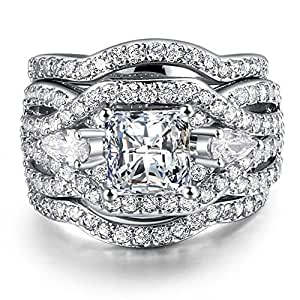 3 PCS Platinum Plated Princess Cut Synthetic Diamond Halo Cubic Zirconia CZ Infinity Wedding Bridal Ring Set (5)