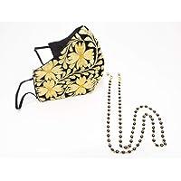 Paquete de Holder ojos negros + Increíble y elegante cubrebocas bordado artesanal | Tricapa | Lavables | Dorado