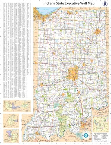36x54 Indiana State Official Executive Laminated Wall Map by Swiftmaps.com