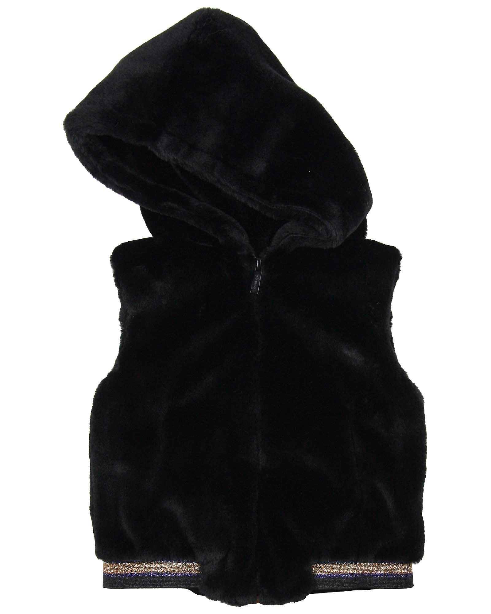 Imoga Girl's Faux Fur Hooded Vest Gwen, Sizes 6-14 - 14 Black by Imoga