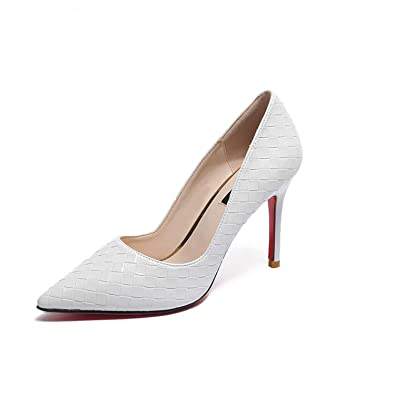 Elegant Red Bottom Pointed Toe Womens Pumps Office 8Cm Thin High Heels Zapatillas Mujer,Wine