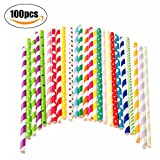 Paper Straws Disposable Colorful Biodegradable Paper Drinking Straws Stripe, Chevron,Polka Dots for Wedding Party Cake Birthday Decoration (Mixcolor, 100pcs)