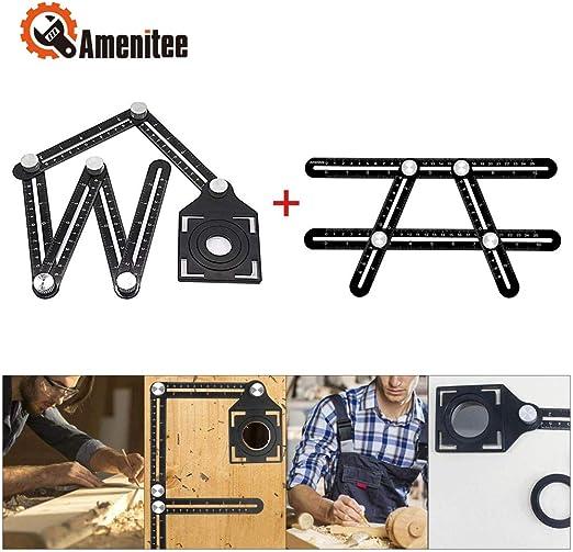 Amenitee Multi-function Ruler-Universal Angularizer Ruler Black Full Metal Multi Angle Measuring Tool-Upgraded Aluminum Alloy Ruler